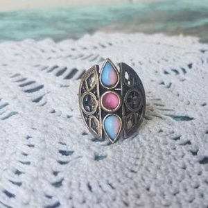 Jewelry - Vintage Large Stone Gothic Statement Ring Boho